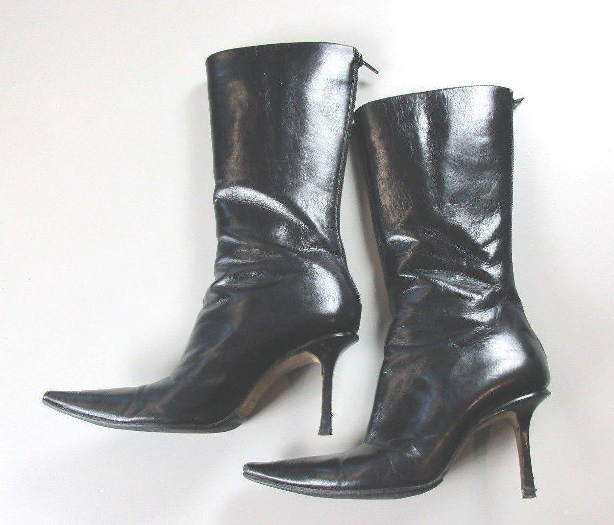 Jimmy Choo B22 Talla 8-8.5 (39) (39) (39) para mujer negro con cremallera en la espalda botas italianas Puntera Puntiaguda  n ° 1 en línea
