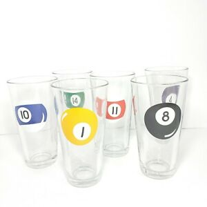 Set-of-6-Libbey-Pool-Game-Ball-16oz-Drinking-Beer-Duratuff-Glasses-Man-Cave-VTG