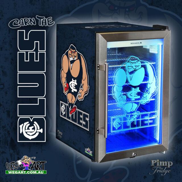 CARLTON FOOTBALL CLUB OFFICIAL WEG ART BLUES  GLASS DOOR BAR FRIDGE -  70 LITRES