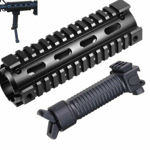 6.7 inch Handguard 2 Piece Drop-In Quad Rail Bipod Vertical Hand Fore-Grip