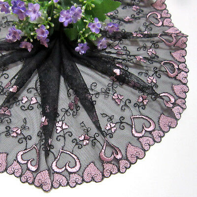 1Yard Heart-Shaped Embroidery Tulle Lace Trim Sewing/Craft~Black~Pink Wide 19 CM