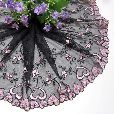 "7.5""*1yard Heart-Shaped Embroidered Tulle Lace Trim Sewing/Craft~Black~Pink"