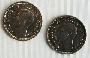 2-Coin-Lot-1942-Great-Britain-Silver-Threepence-Coins-VF-Very-Fine-3-Pence-UK