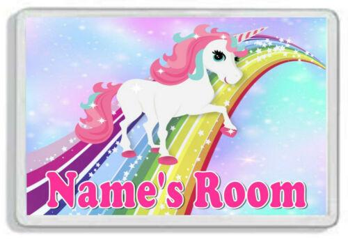 Personalised Unicorn Kids Door Plaque Childrens Bedroom *SIZE= 9.5 x 6.5cm*