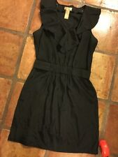 Miss Tina Knowles Black Sleeve Free Ruffle V Neck Belted Cocktail Dress M 8 10