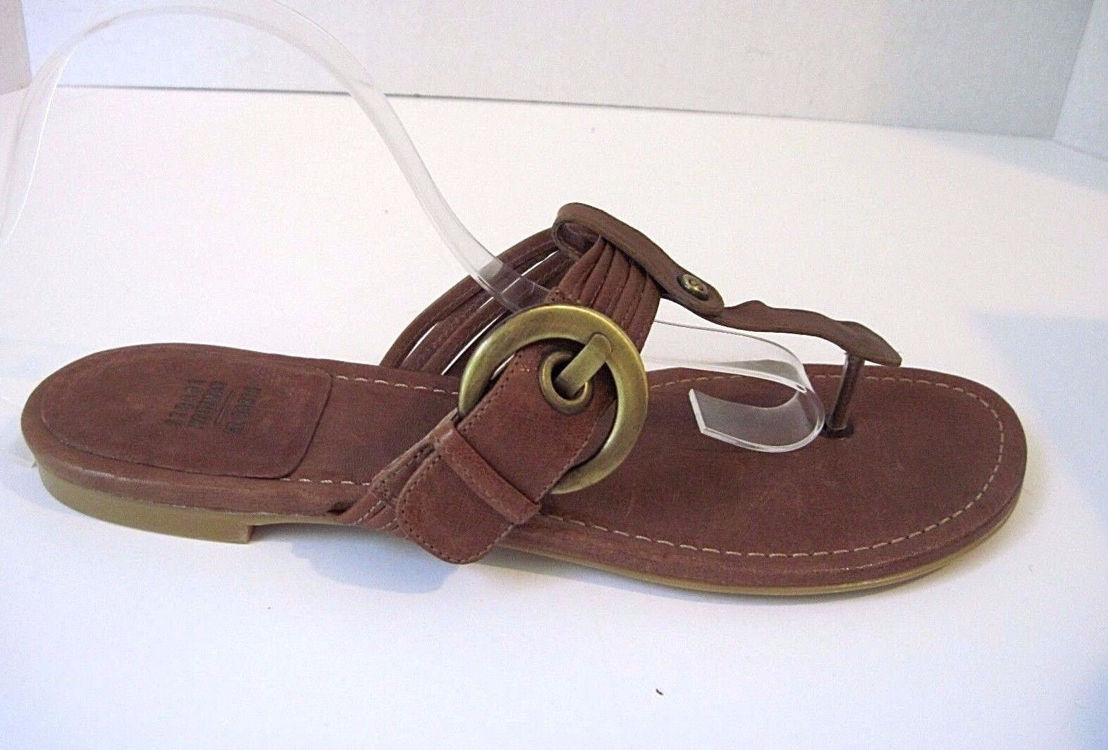 Stuart Weitzman St Barth Brown Pelle NEW Thong Sandal Front Buckle Size 40.5 NEW Pelle b9bc4c