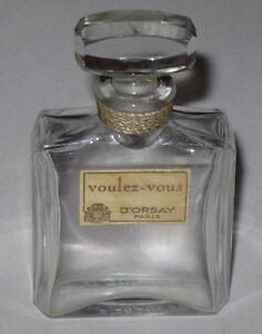 "Open/empty 2 1/2"" Height Vintage D' Orsay Perfume Bottle & Stopper 1/2 Oz"