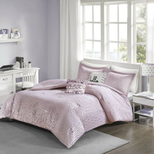 BEAUTIFUL CHIC MODERN ULTRA SOFT PURPLE GREY SILVER HEART GIRLS COMFORTER SET