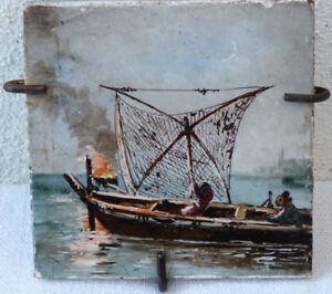 Marine Peinture Emaillee Japonisante Sur Carreau Creil Et Montereau Tgoeglfs-08001620-835622720