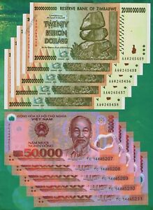 Details About 5 X 20 Billion Zimbabwe Dollars 50 000 Vietnam Dong Banknotes Currency Unc