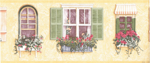 Window Flower Boxes Cottage Floral Tuscan Tuscany Stucco Wall paper Border