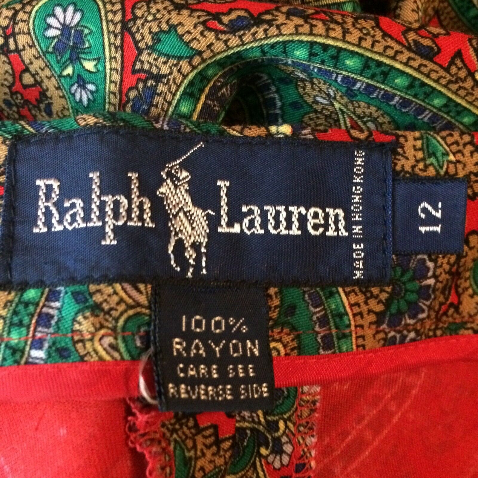 Ralph Lauren Maxi Skirt Red Green Paisley Print R… - image 10