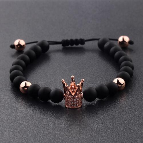 Men/'s Cubic Zircon 24kt Gold Plated Crown Bracelets Bead Macrame Bracelets Gifts