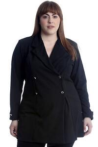 Humor Neuer Frauen Übergrößen Mantel Damen Blazer Jacke Formal Einfach Lang Arm Büro Volumen Groß