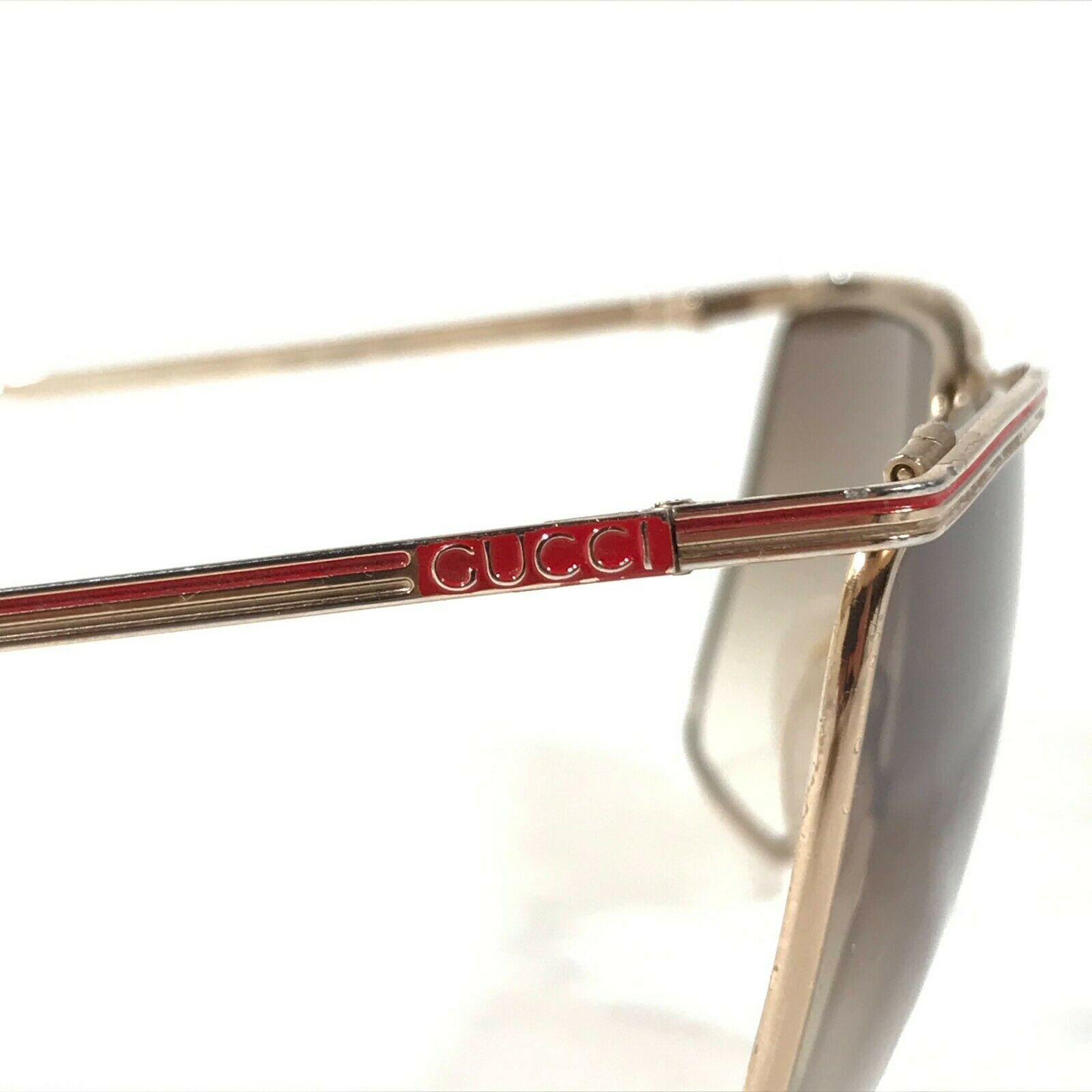 Vintage Gucci Sunglasses 70s 80s Gold Red Logos B… - image 4