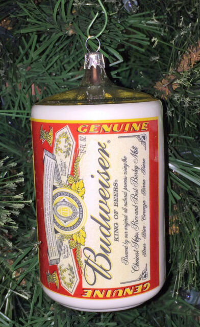 Budweiser Classic Logo Beer Can Glass Christmas Ornament ~ 5.5