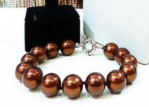 12mm Kaffee Südseeperle Shell Halskette Armband Ohrringe