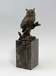 9937579-dss Bronzo Scultura Figura Gufo Ramo H28, 5cm