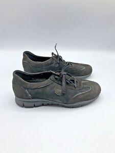 Mephisto-Runoff-Women-Black-Leather-Sneaker-Shoe-Size-7-EUR-38-Pre-Owned