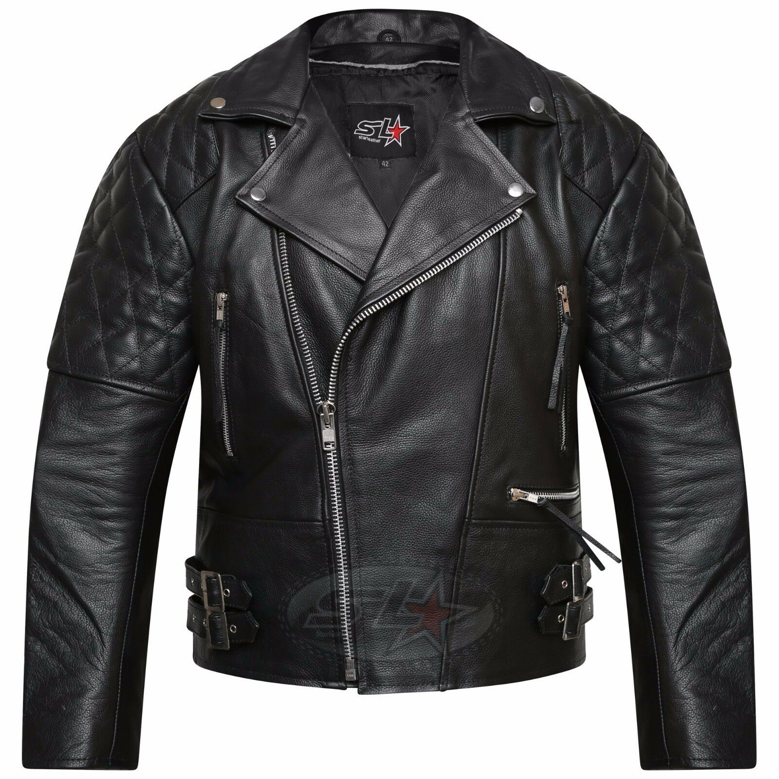 dc2f21fe7011e Details about Men s Real Leather Jacket Motorcycle Vintage Brando Biker  Perfecto Jacket