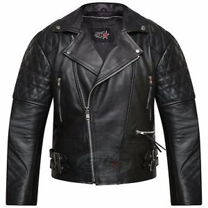 Men-039-s-Real-Leather-Jacket-Motorcycle-Vintage-Brando-Biker-Perfecto-Jacket