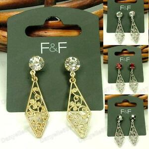 RETRO-FILIGREE-vintage-gold-silver-DROP-EARRINGS-rhinestone-CRYSTAL-stud