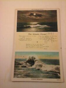 Vtg-1915-1930-W-B-Postcard-THE-ATLANTIC-OCEAN-poems-by-Rev-H-F-Huse-amp-Moore