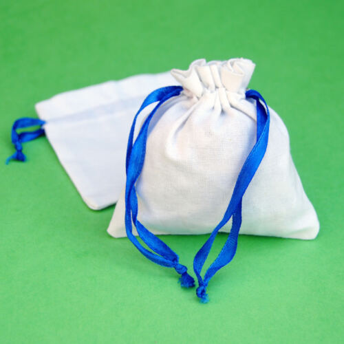 """100 PCS  Blue Drawstring Cotton Pouch Gift Bags Small Bag Jewelry Pouches 5x5/"""""""