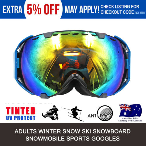 Outdoor Men Women Windproof Silver Frame Ski Snowboard Goggles Antifog Tint Lens