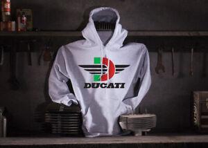 Ducati-Motorcycle-Hoodie-Hooded-Sweat-Shirt-Color-Ash-Size-Medium-44-039-039