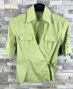 Karen-Millen-Ladies-Size-10-V-Neck-Lime-Short-Sleeve-Blouse-Top-Shirt