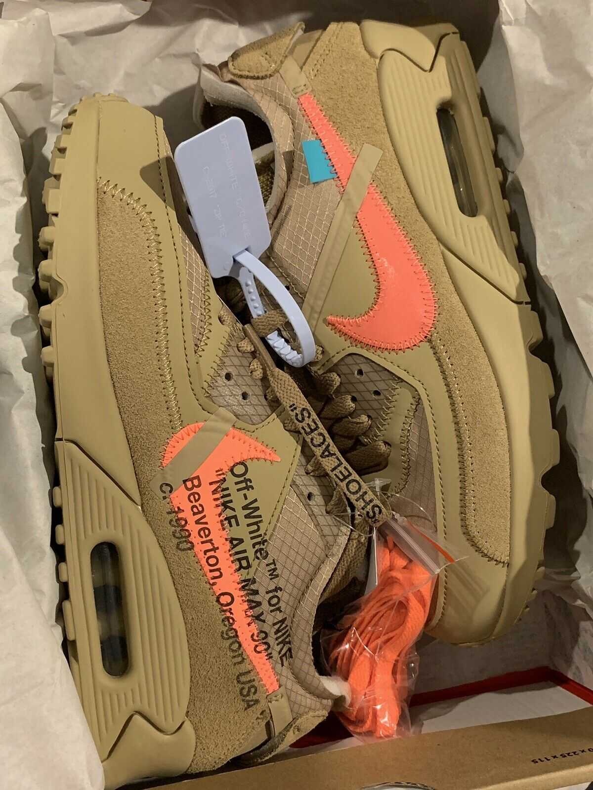 Authentic Nike x Off-White The 10  Air Max 90 Parachute Beige Size 7
