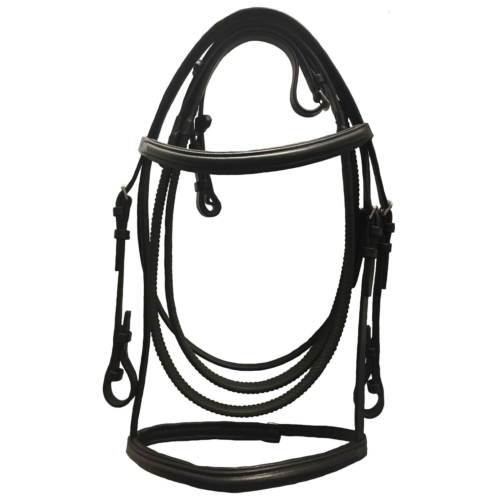 JHL Raised Cavesson Bridle With Rubber Reins