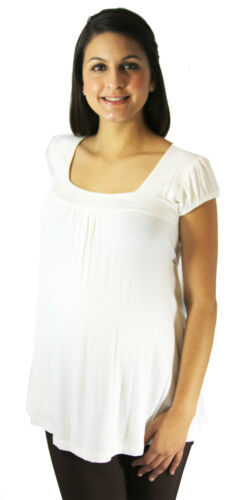 White Solid Cream Maternity Short Sleeve Soft Flowy Pregnancy Top Womens Blouse