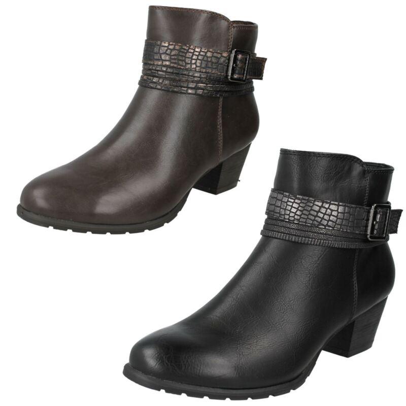 Donna F50730 Stivali Caviglia Con Decorativo Cinturino Da Spot On