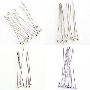 100-Silver-Tone-Ball-End-Pins-Jewelry-Making-Findings-DIY-Crafts-Headpins-Nove