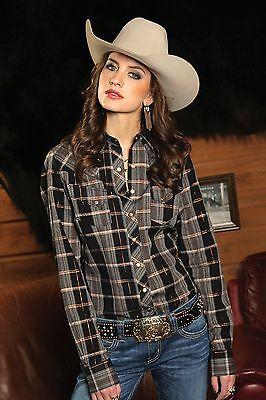 CLOSEOUT - Cruel Arena Fit Black & Copper Lurex Plaid Ladies Western Shirt