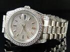 Hombre 18K Oro Blanco Acero Diamante Sintético Presidencial Reloj 41MM PR-02
