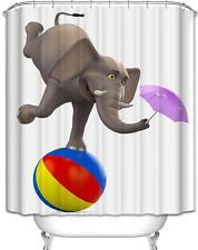 Funny Circus Elephant Balancing on Ball Bathroom Shower Curtain Polyester Hooks
