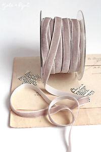 1 M Samtband Velvet Velour 10mm Vintage Taupe 435 Tischdeko Samt