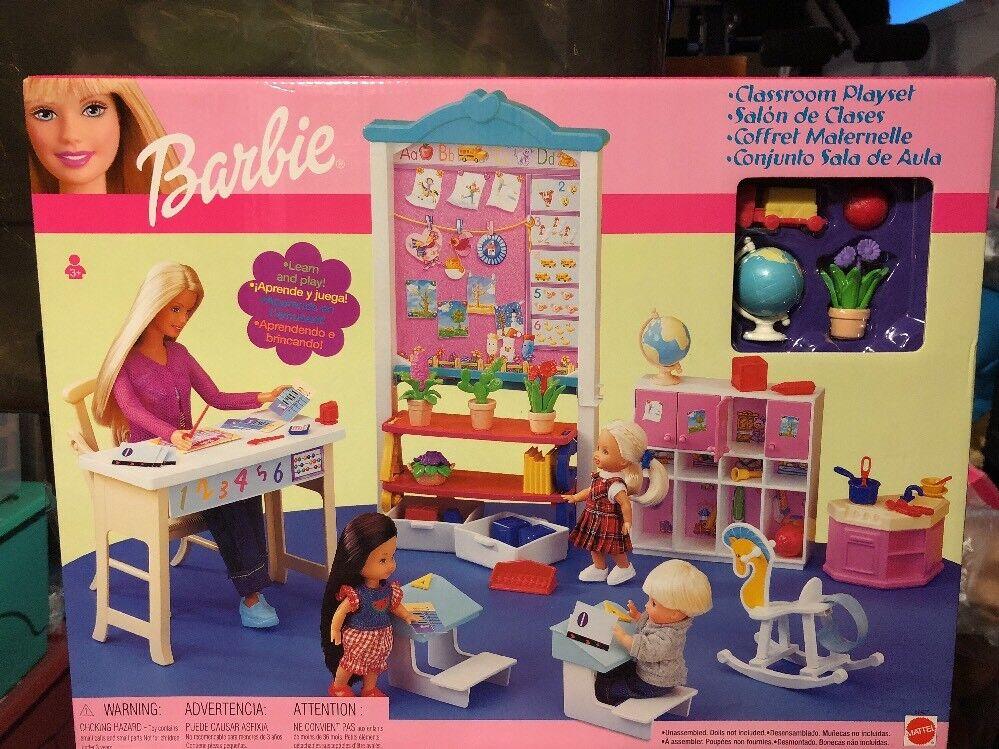 Barbie Conjunto de juego aula, escritorios, armarios, estanterías - 2002-Nuevo 2002-Nuevo 2002-Nuevo  precio al por mayor