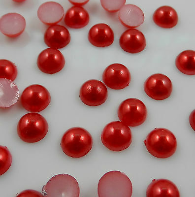200pcs 6-10mm Half Round Pearl Bead Flat Back Size Scrapbook for Craft Pick NEW