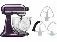 Kitchenaid Stand Mixer Ksm154gb 5-qt W/glass Bowl + Flex Edge Beater Plumberry