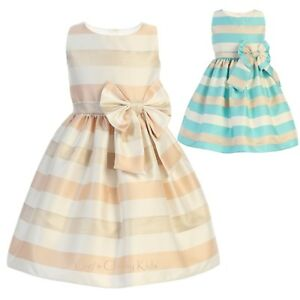 d5be7992a8f59 Image is loading New-Flower-Girls-Striped-Satin-Dress-Baby-Wedding-