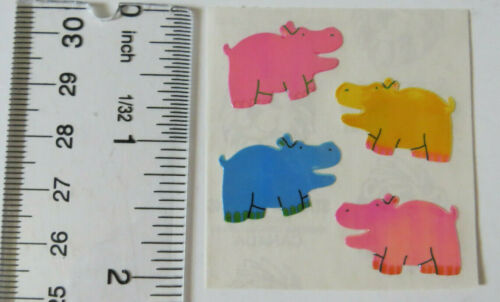 1 Square Vintage Opal Colored Pigs Stickers COLORED Sandylion OPAL PIG