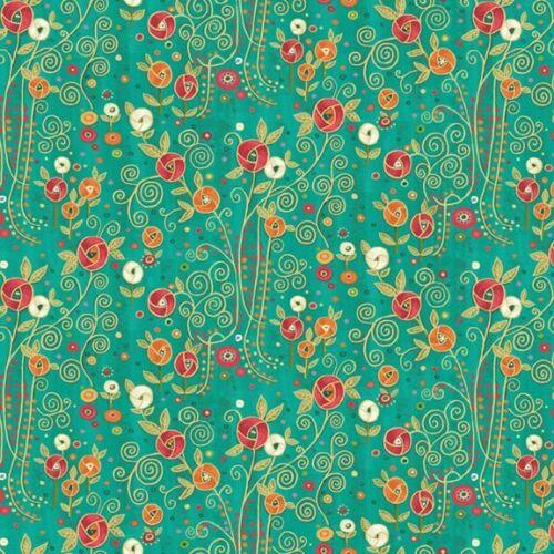 Cotton Rhapsody Metallic Flowers Green Makower Fabric Multiple Sizes