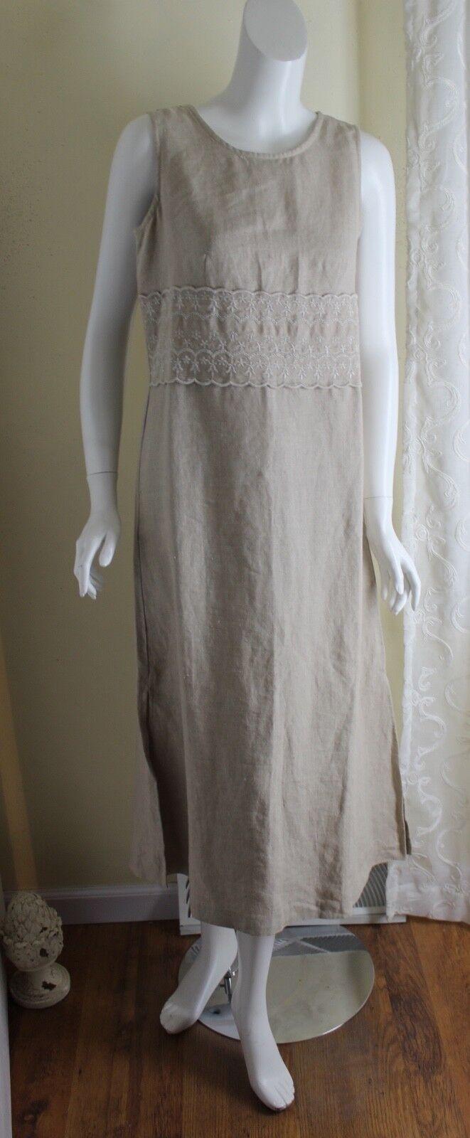 Eileen West Sz 12 12 12 Natural Long Linen Lace Fab French Romantic Lagenlook Dress 87d6c0