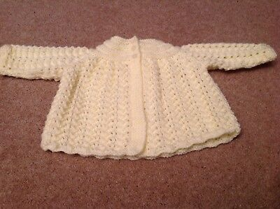 Hand knitted Pink baby Matinee Coat lace Effect.size 0//3Months