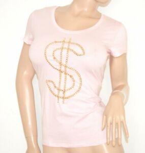 CHEMISE-POUDRE-ROSE-OR-manches-courtes-femme-T-shirt-coton-underjacket-Jersey-5N