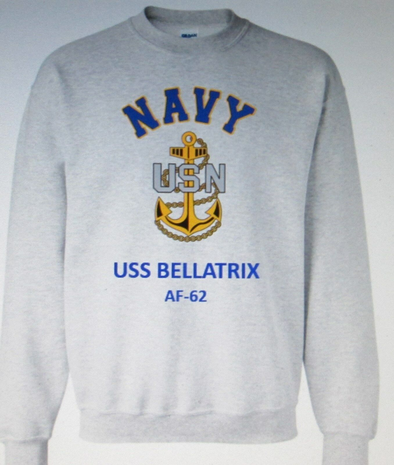 USS BELLATRIX  AF-62  STORES SHIP  NAVY ANCHOR EMBLEM SWEATSHIRT